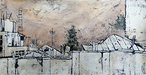 Neighbour's roof, 2011 - Mixed media on canvas, 47.5*24.5 cm